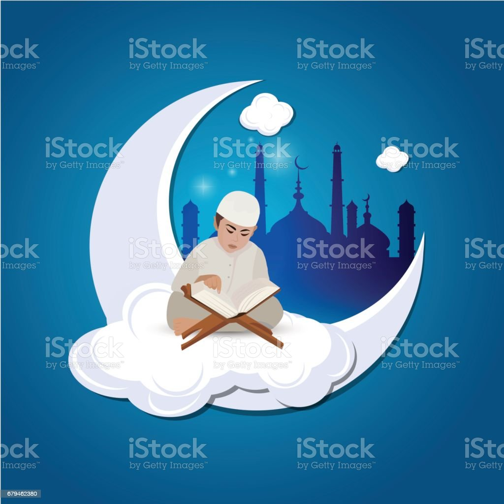 Illustration of a Little Muslim Boy Reading the Quran On The Moon royalty-free illustration of a little muslim boy reading the quran on the moon stock vector art & more images of abstract
