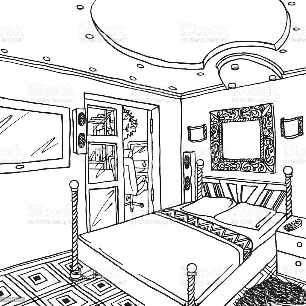 Illustration Of A Luxurious Bedroom Stock Vector Art