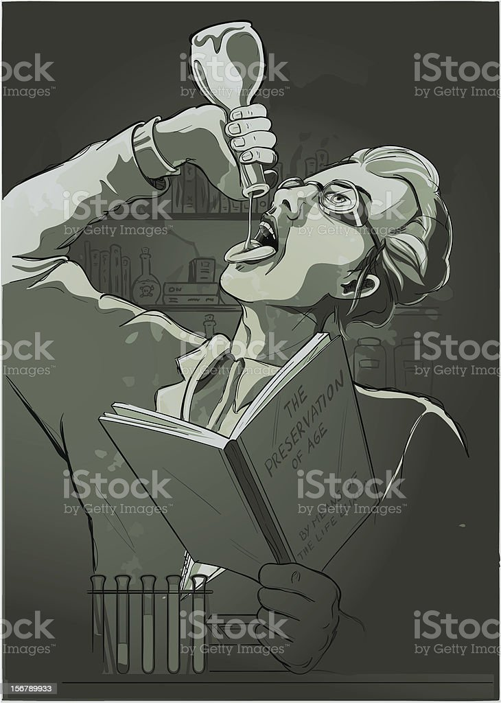 Illustration of a mad Scientist drinking life elixer royalty-free stock vector art