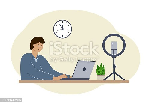 istock Illustration of a male blogger at the table with a laptop. Online filming of a training course or blog 1342630486