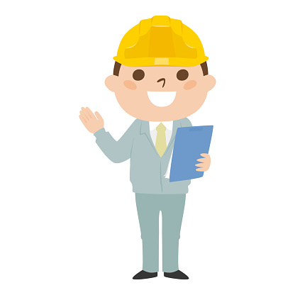 Illustration of a male builder. Work clothes and helmet. Illustrations introduced with materials.