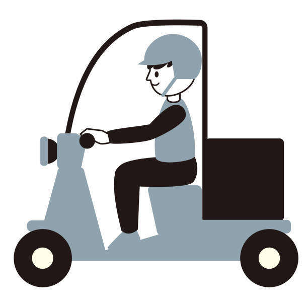 Illustration of a male deliveryman on a scooter vector art illustration
