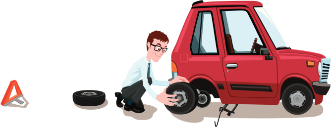 Illustration of a man changing the tire on his car
