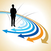 Illustration of a man choosing a business path