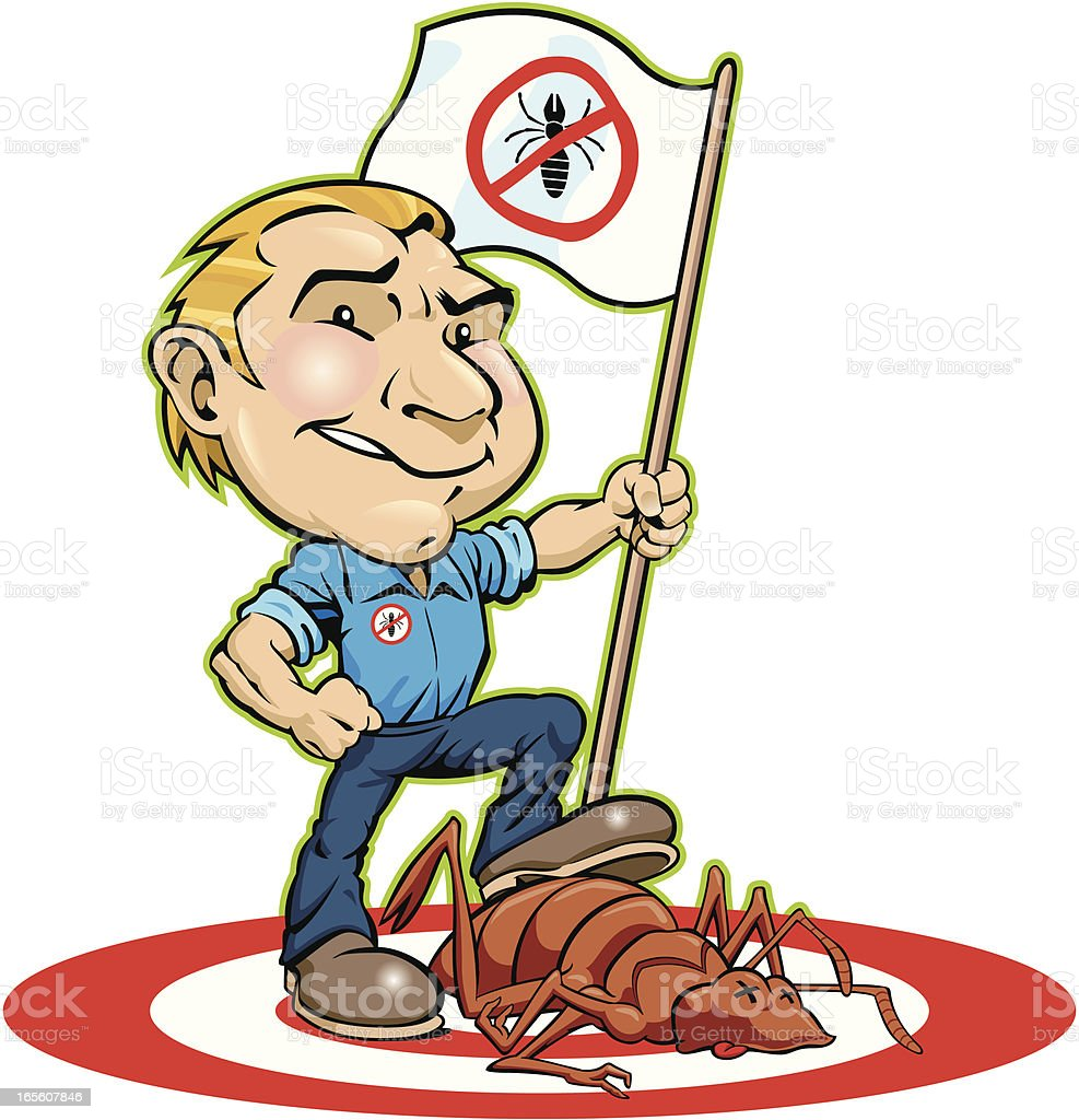 A illustration of a man fighting pest control royalty-free a illustration of a man fighting pest control stock vector art & more images of adult