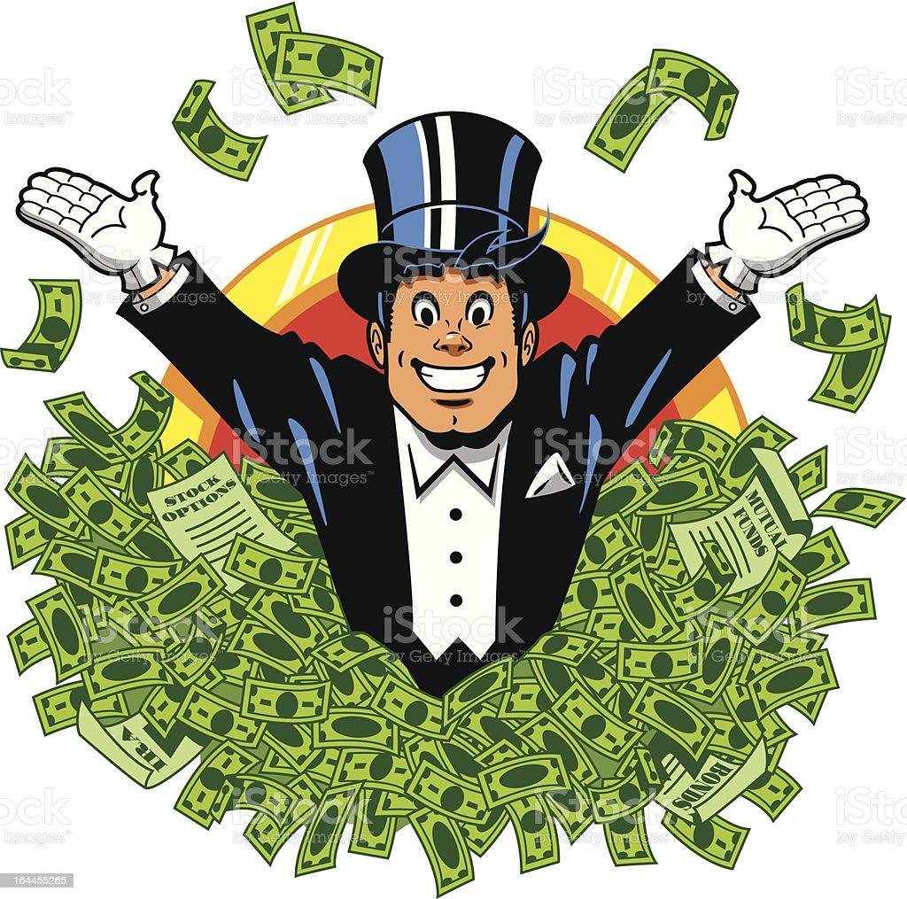 Illustration of a man in a tuxedo swimming in money vector art illustration