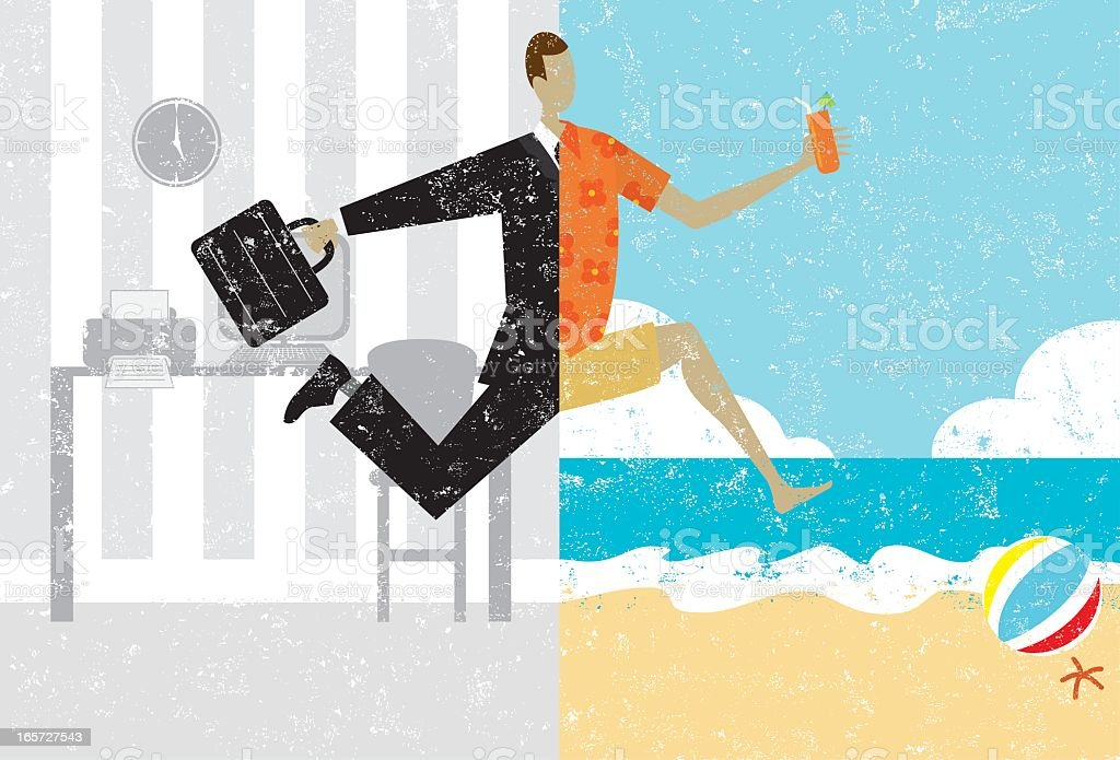 Illustration of a man leaving work to go on vacation royalty-free illustration of a man leaving work to go on vacation stock vector art & more images of adult