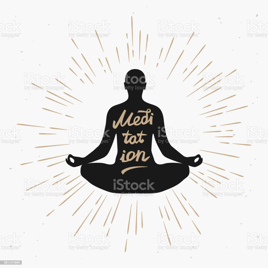Illustration of a man meditating in the lotus position vector art illustration