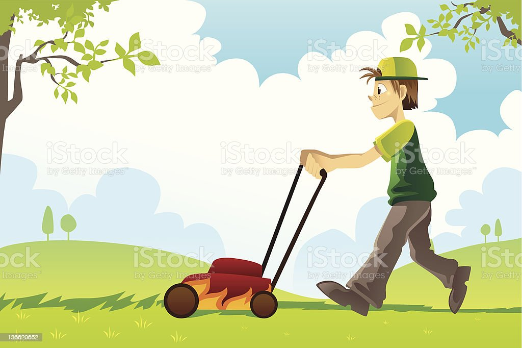 Illustration of a man mowing a lawn vector art illustration