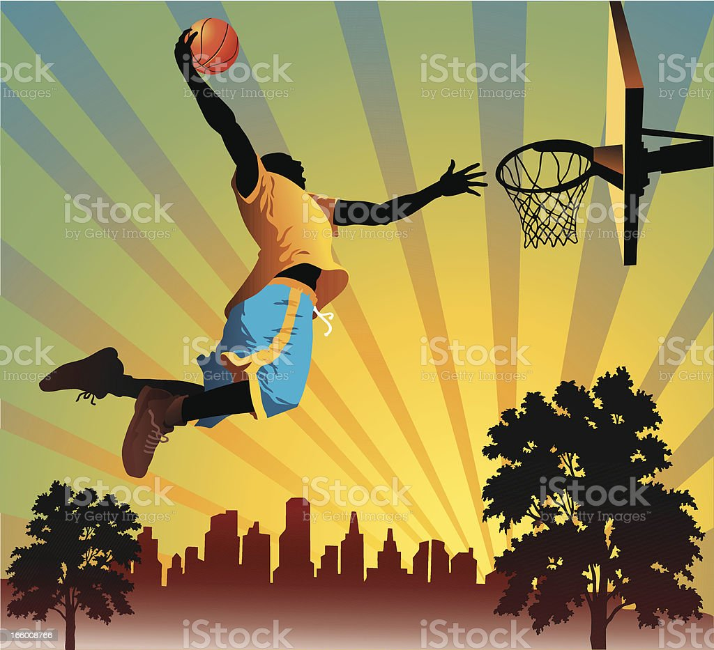 Illustration of a man performing a slam dunk vector art illustration