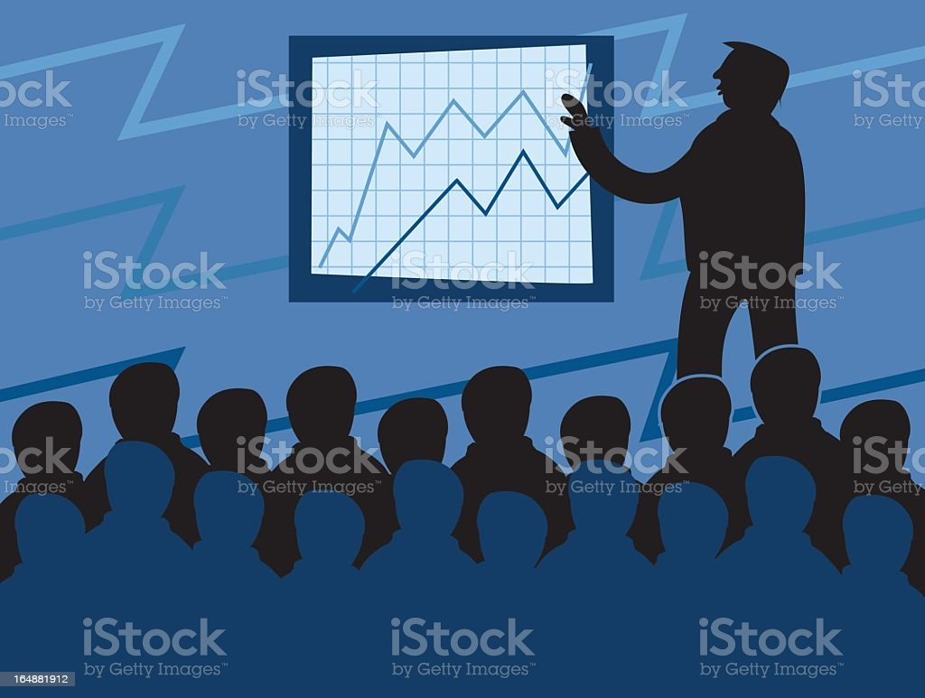 Illustration of a man presenting chart in business meeting royalty-free stock vector art