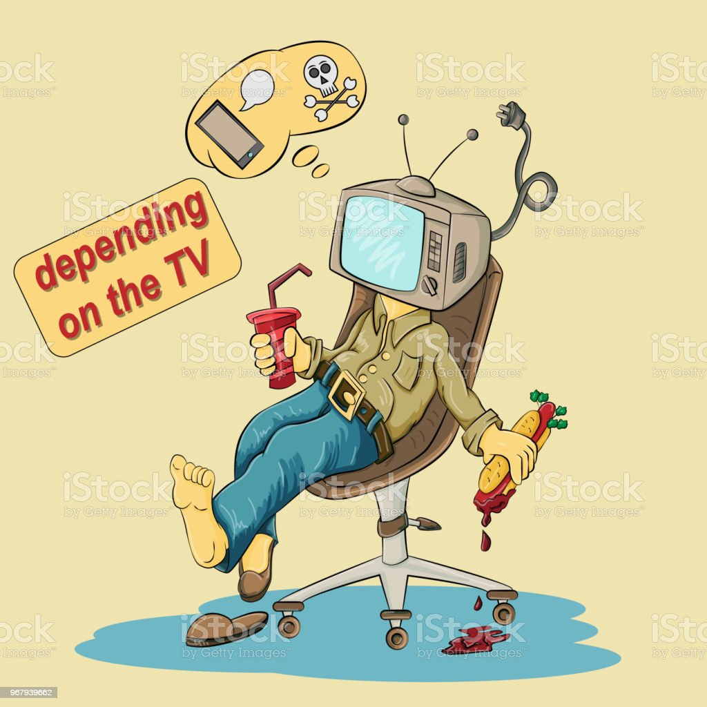 Bir Tv Yerine Bir Kafa Ile Bir Sandalyede Oturan Bir Adam çizimi