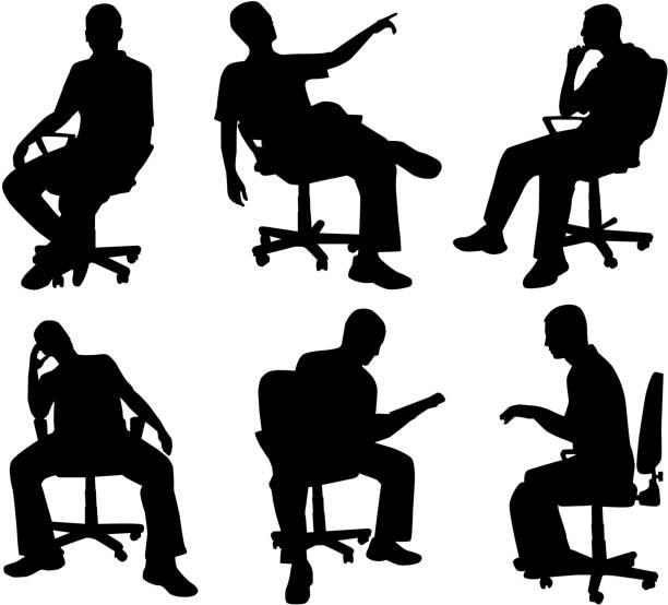 illustrations, cliparts, dessins animés et icônes de homme en position assise, vecteurs de travail - homme slip
