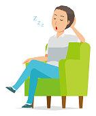 Illustration of a man sleeping on a sofa sleeping on a short sleeve shirt