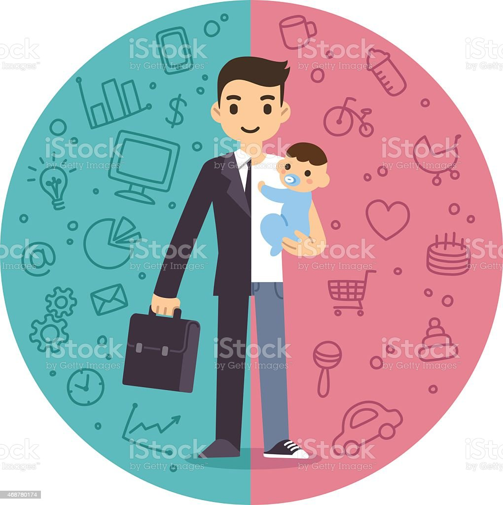 Illustration of a man split between work and home duties vector art illustration