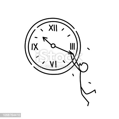 Illustration of a man weighing on the minute hand. Vector. Not enough time. Metaphor. Linear style. Illustration for website or presentation. Have time to do all the work.