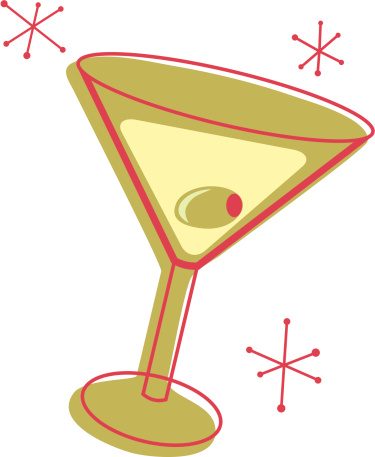 Illustration of a martini glass with an olive