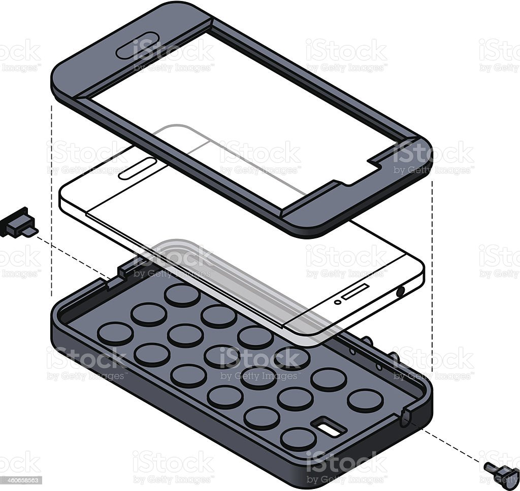 Illustration of a Mobile phone protection royalty-free stock vector art