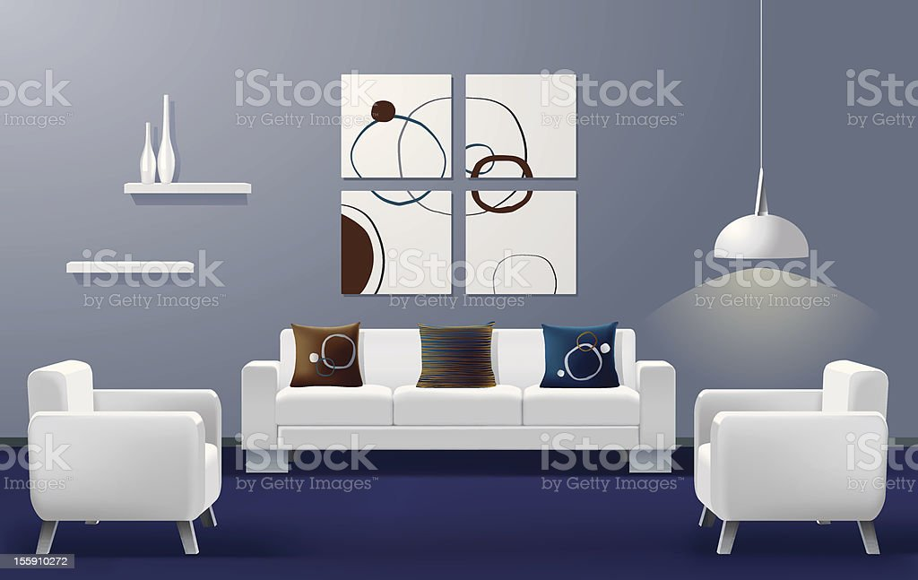 Illustration of a modern living room with a white couch vector art illustration