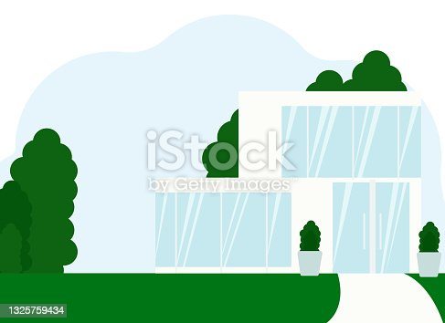 Illustration of a modern white house with large windows and glass door