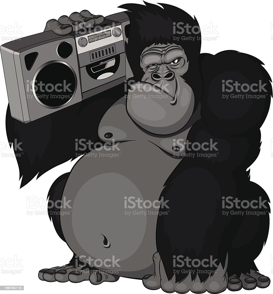 illustration of a monkey with radio royalty-free stock vector art