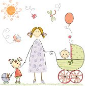 Hand drawn happy family with mother, little girl and baby boy. Isolated vector illustration.  AI, EPS, SVG and JPG.