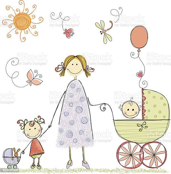 Illustration of a mother and two children vector id455437335?b=1&k=6&m=455437335&s=612x612&h=cuiubzcteiqqasx5bco306tzgw4g7b  xjijyoqmg0w=