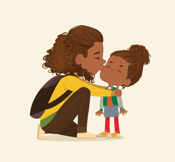 illustration of a mother gives a goodbye kiss to her daughter. african american mum gives kiss to the child at the school door. preschool girl say hello to mom at school. vector. isolated. - kiss stock illustrations