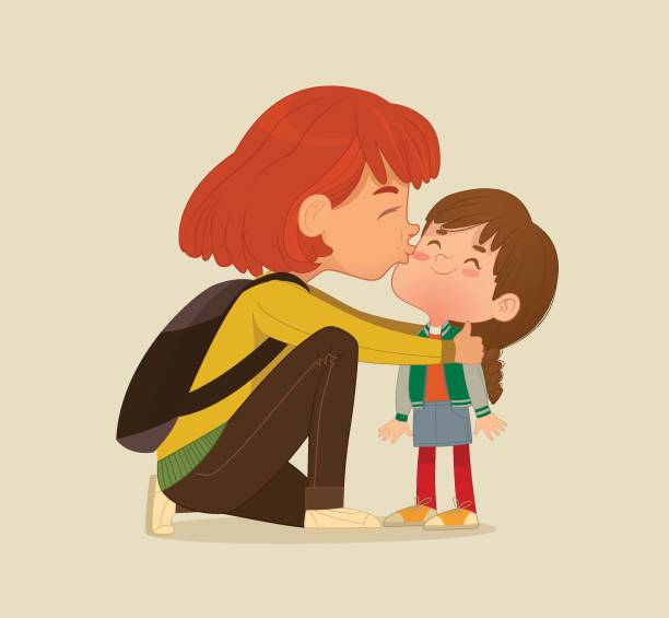 illustration of a mother gives a goodbye kiss to her daughter. mum gives kiss to the child at the school door. preschool girl say hello to mom at school. vector illustration. isolated. - kiss stock illustrations