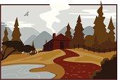 istock Illustration of a mountain cabin 165048410