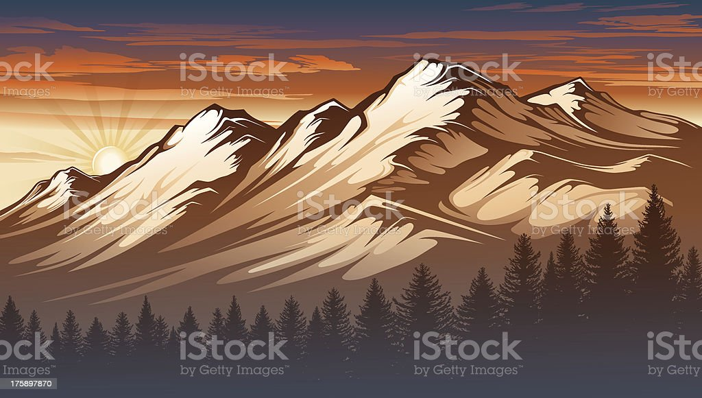 Illustration of a mountain range at sunset in sepia tones royalty-free stock vector art