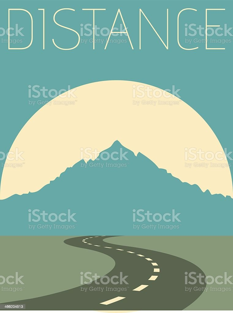 Illustration of a mountain with a empty road vector art illustration