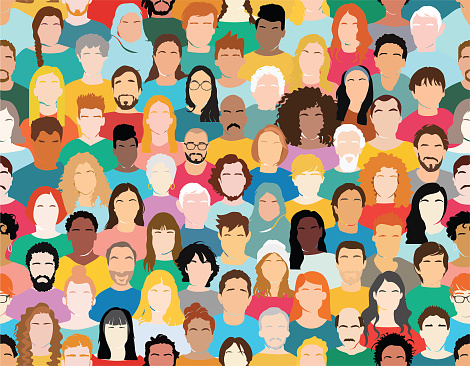 Illustration of a multi-ethnic group of people