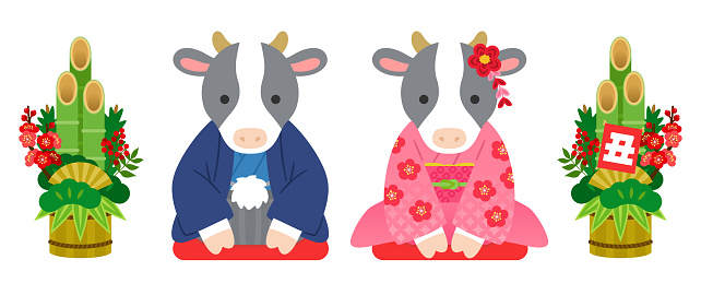 Illustration of a pair of cows greeting in a kimono (Japanese New Year's design element)