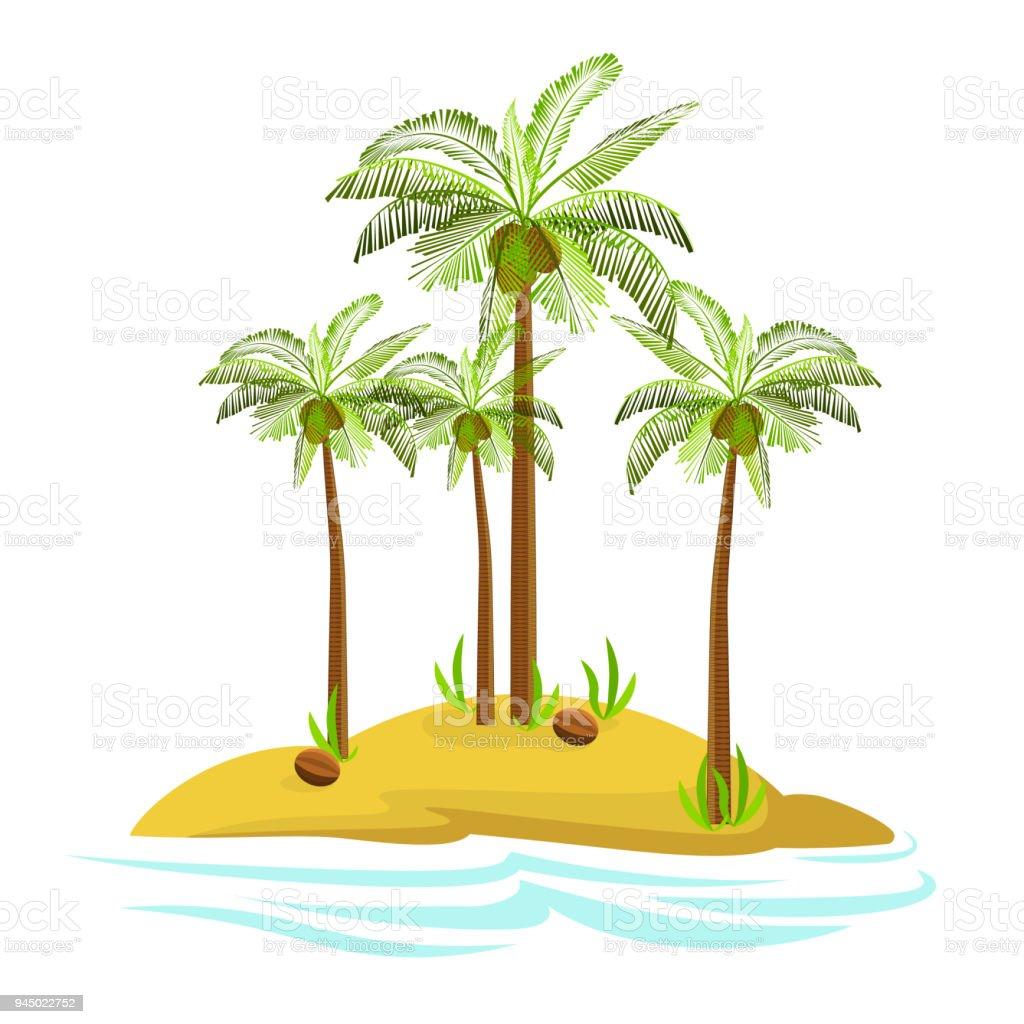 島でヤシの木のイラストです装飾的なヤシの木は白い背景で隔離ベクトル