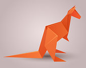Illustration of a paper origami kangaroo. Paper Zoo.