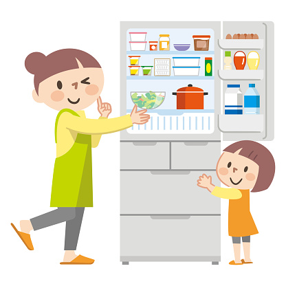 Illustration of a parent and child opening the refrigerator