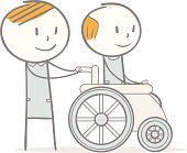 Illustration of a person caring for a disabled individual