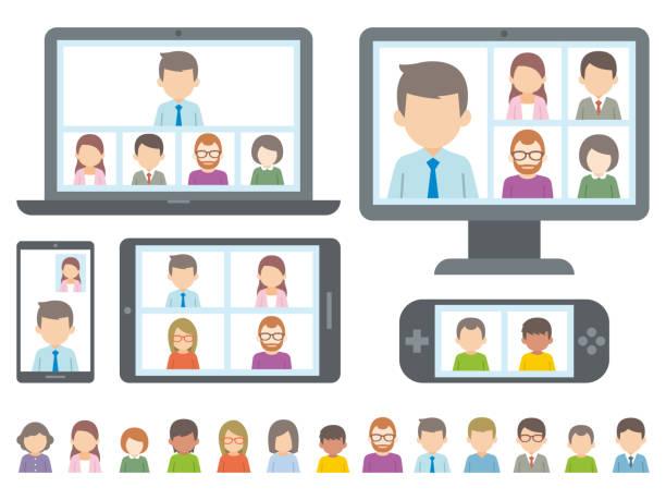 コンピュータまたはタブレット pc でビデオ会議を行っている人の図。ベクトル - テレビ会議 日本人点のイラスト素材/クリップアート素材/マンガ素材/アイコン素材