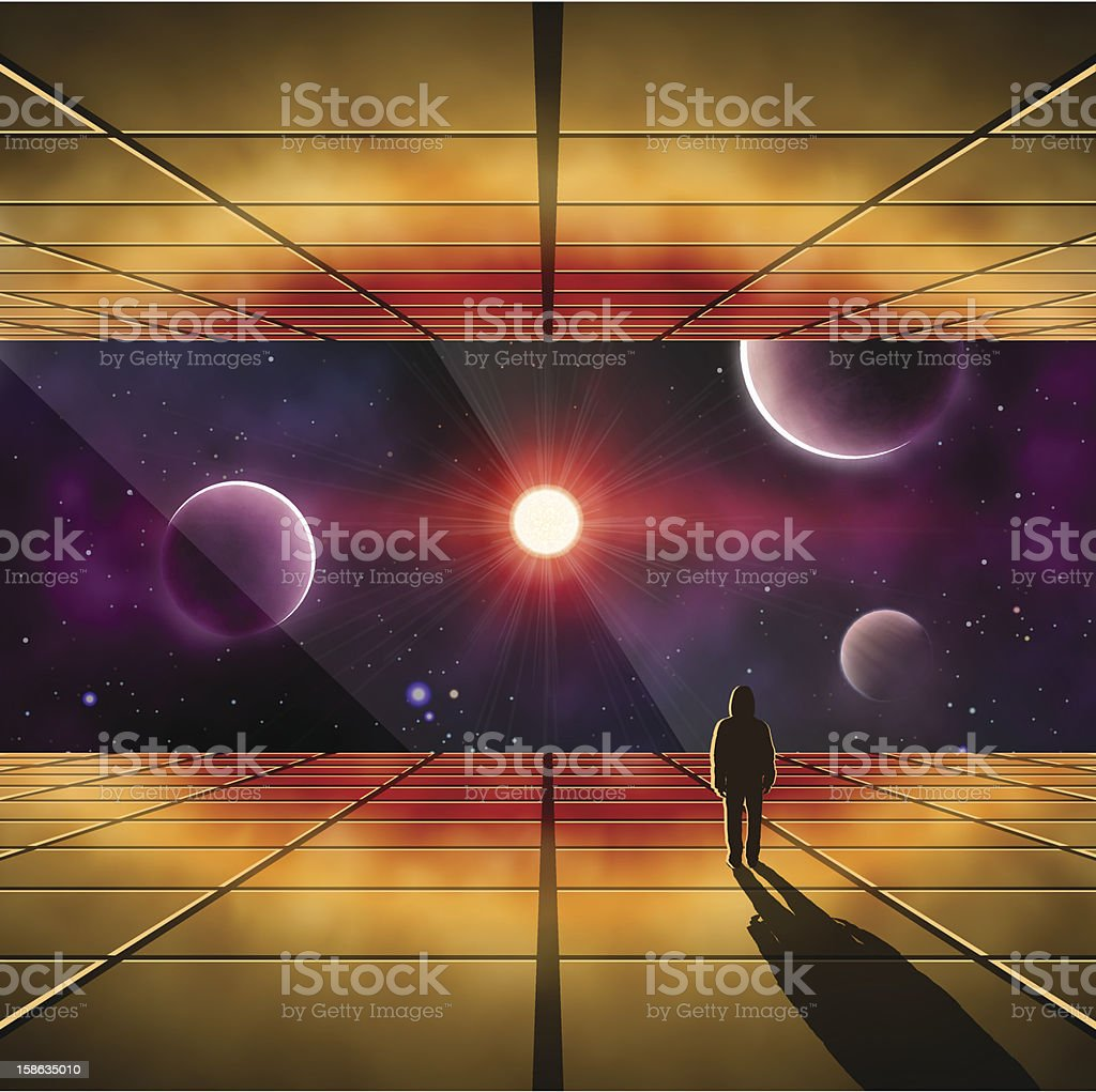Illustration of a person in a craft looking out into space vector art illustration
