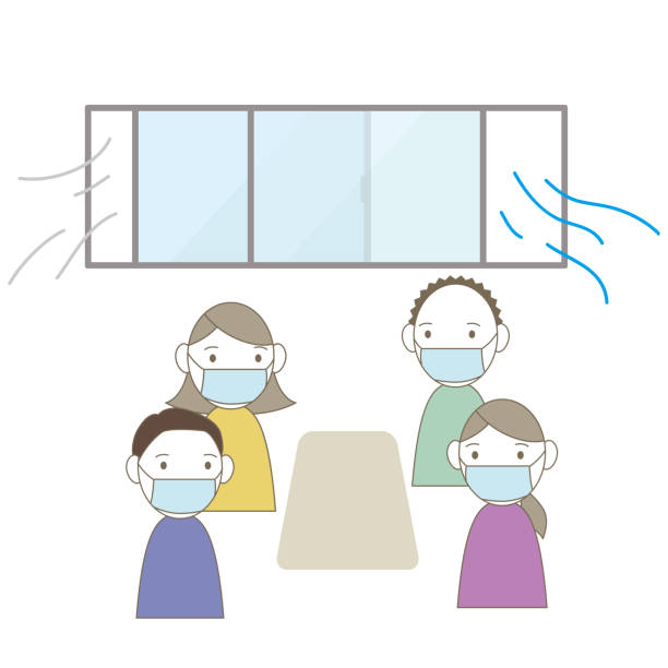 Illustration of a person in a room that is ventilated. vector art illustration