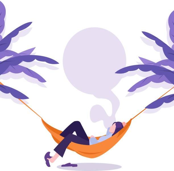 bildbanksillustrationer, clip art samt tecknat material och ikoner med illustration av en person som sover i en hängmatta - avkoppling