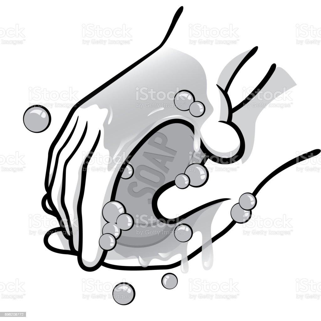 Sabun Ve Suyla Siyah Ve Beyaz El Yikama Bir Kisi Illustration