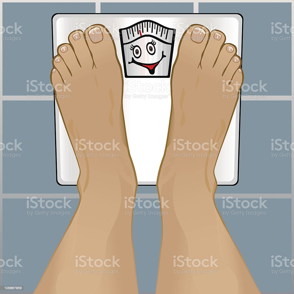 Illustration of a person's feet on a scale vector art illustration