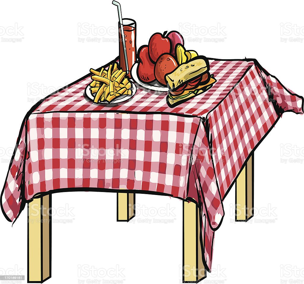 Illustration Of A Picnic Table With Food On It Vector Art Illustration