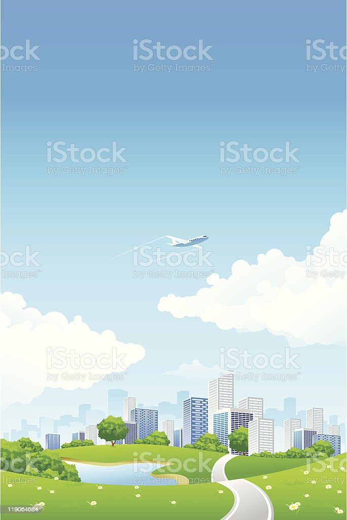 Illustration of a plane flying over a city under a clear sky royalty-free stock vector art
