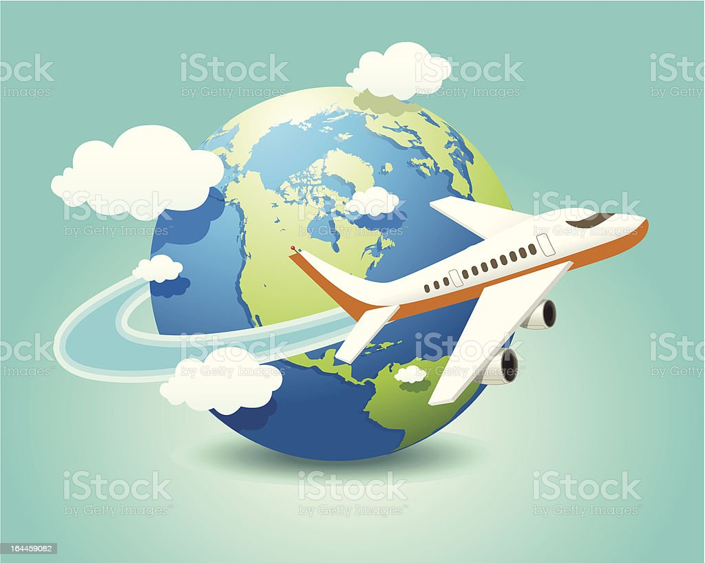 Illustration of a plane going around the world globe royalty-free stock vector art