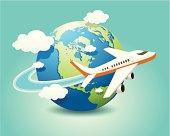 Vector illustration of airplane travel on globe.
