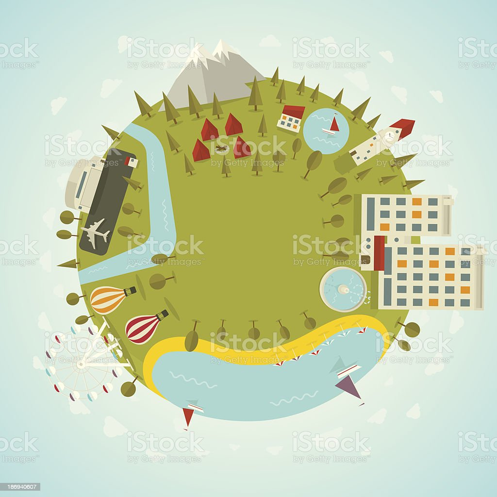 Illustration of a planet with a resort on it royalty-free stock vector art