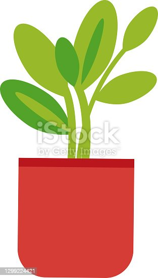 istock Illustration of a plant inside a pot. Flat and modern design. Minimal. Vector. 1299224421